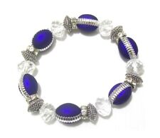 Blue Silver Glass Bead Crystal Stretch Bracelet Ladies Women Girls Jewellery UK
