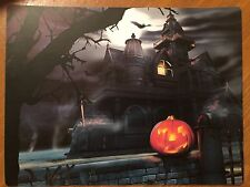 Tin Sign Vintage Halloween Haunted House With Glowing Pumpkin