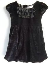 DKNY NWT $55 BLACK RUFFLE VELVET BUBBLE HEM HOLIDAY PARTY DRESS SZ 4T