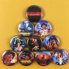 "A Nightmare On Elm Street 1"" Button Pin Set Freddy Krueger Wes Craven Horror"
