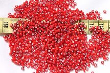 8/0  Antique Venetian Made In Italy Cherry White Heart Dark #2 Seed Beads/1oz