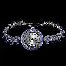 Plata esterlina 925 impresionantes Natural Tanzanite & Reloj de circonio cúbico 7.5 pulgadas