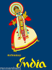 Kathakali Southeast Asia Indian Asian Vintage India Travel Advertisement Poster