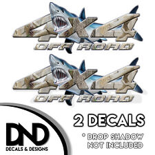 Camo Shark 4x4 Wraps Off Road Decals 2 Pk Sticker Ford Chevy truck - D&1BF