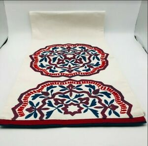 """Pier 1 Table Runner Embroidered 100% Cotton Elegant Blue Red Size 13""""x72"""" NEW"""
