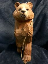 Carved Wood Bear W/Glass Eyes Hauling Huge Salmon 8�