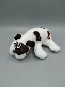 Vintage 1985 Pound Puppies Newborn Plush Puppy Dog White With Brown Spots