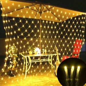 US 96/200LED String Net Mesh Light Curtain Christmas Wedding Party Xmas Decor