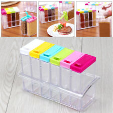 uk 6ps/Set Seasoning Bottle Box Jar Condiment Storage Container Rack Herb Spice
