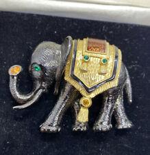 Large Black And Gold Tone Orange Enamel  Rhinestone Elephant Pin Brooch