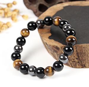 UK Protection Anxiety Stress Relief Hematite/Obsidian/Tigers Eye Bead Bracelet