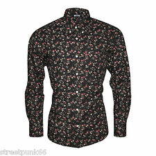Relco Mens Black Multi Colour Floral Long Sleeved Button Down Vintage Shirt Mod XL