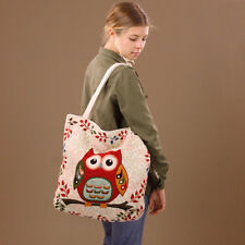 Extra Big Tapestry Style Owl Leaves Tote Shopping Nappy Beach Bag Cotton Canvas