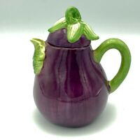 Collectible Purple Majolica Ceramic Eggplant Aubergine Teapot Stem Handle EUC