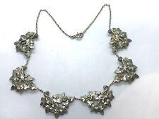 Antique Art Nouveau Sterling Silver Ivy Panel Chain Necklace 26.2 grams