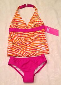 SPEEDO Girls Size 10 Orange Pink Swirl HALTER 2-Piece Tankini SWIMSUIT Swimwear