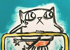 """ACEO Original """" In Another Place"""" Cat 2.5 x 3.5 Painting Samantha McLean"""