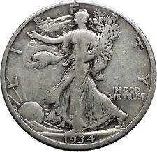 1934 WALKING LIBERTY Half Dollar Bald Eagle United States Silver Coin i44697