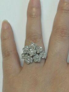 Diamant Ring 375 Bicolor Weißgold 1ct Gr 55 17,5 Cluster Cocktail 3D Blume Blüte