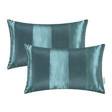 "2PCS Teal Throw Pillow Cover Reversible Jacquard Striped Sofa Decor 12""x20"""