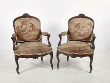 Antique Pair of Louis XV Style Aubusson Tapestry Upholstered Fauteuils Armchairs