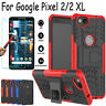 For Google Pixel 2 / 2 XL Luxury Shockproof Hybrid Kickstand Case+Tempered Glass