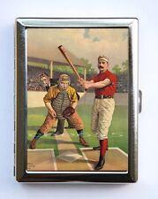 Vintage Baseball Batter illustration Cigarette Case Wallet Business Card Holder
