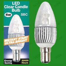 4x 4w Ultra Bajo Consumo Vela LED INSTANT on Bombilla SBC B15 Blanco frío