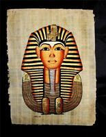 Rare Authentic Hand Painted Ancient Egyptian Papyrus King Tut Ankh Amun Bust