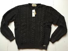 Ralph Lauren Denim Supply Washed Black Cable Knit Cotton Sweater Cardigan-MEN-M