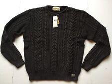 Ralph Lauren Denim Supply Washed Black Cable Knit Cotton Sweater Cardigan-MEN-M