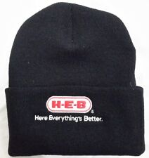 H-E-B  Black Knit Beanie Winter Hat Toque Skull Cap Cuffed 100% ACRYLIC HEB