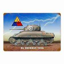 M4 Sherman Tank Army Panzer 1st Armored Division 2. WK Retro Blechschild Schild