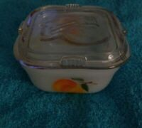 """Vintage Fire King Oven Ware Flower Pattern Dish With Lid 4"""""""