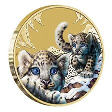 2016 Snow Leopard Endangered Wildlife Tuvalu $1 One Dollar UNC Coin Perth Mint