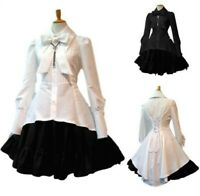 Occident Women Bowtie Lace Slim Fit Lolita Dress Princess Evening Party S-5XL D