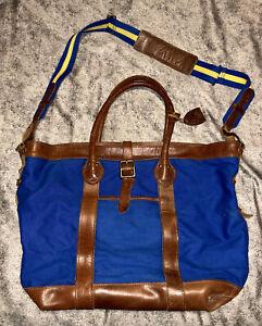 POLO RALPH LAUREN Leather Cotton Canvas Tote Bag Shopper Blue Brown W/ Strap