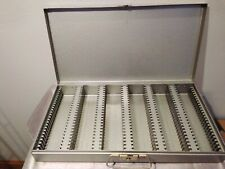"Vintage Brumberger Metal Case Box 2"" x 2"" 150 Slots Slide or Coin Holders Silver"