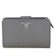 Prada Bi-fold Zip Saffiano Leather Wallet - Marmo