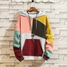 Mens Hip Hop Mixed Color Chic Korean Fashion Hoodie Long Sleeve Warm Sweaters