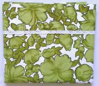 Vintage WABASSO Bedsheet FULL FLAT Flower Power Green Hibiscus Cotton Lace Trim