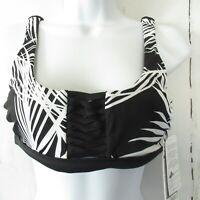 New $69 Athleta Adriata Retro Palm Bikini Top S Small Black Floral Swim Suit