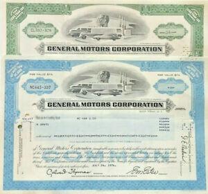 General Motors Corporation > set of two auto manufacturer stock certificates