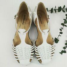 Softspots Women's 8 1/2 WW White Leather Fisherman Sandals Closed Toe 7305004