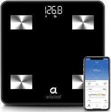 Arboleaf Bluetooth Digital Body Weight Smart Scale w/ Body Fat 10 Data - Black