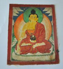 Mongolian Tibetan antique miniature tsakli Thangka Gold Detail Buddha Shakyamuni