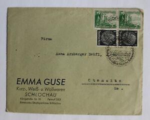 Briefumschlag, EMMA GUSE Wollwaren Schlochau n. Chemnitz Fa. Arzberger, 1938