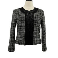 Ellen Tracy Jacket Women's Black & White Tweed Blazer Rhinestones Size 12 Large