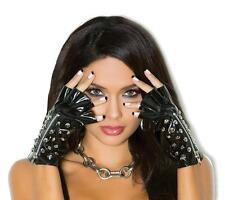 Vinyl Fingerless Gloves Spiked Studs Studded Zipper Wrist Length Costume V9760