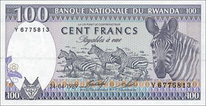 Ruanda/ Rwanda 100 Francs 1989 Pick 19a Zebra